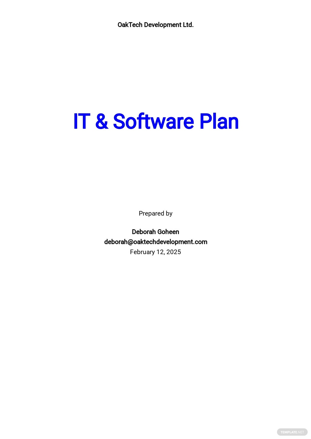 Simple IT & Software Plan Template