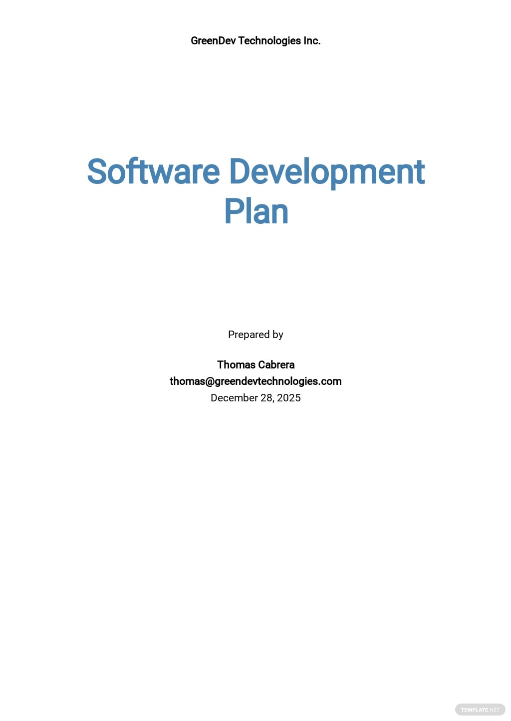 Basic Software Plan Template