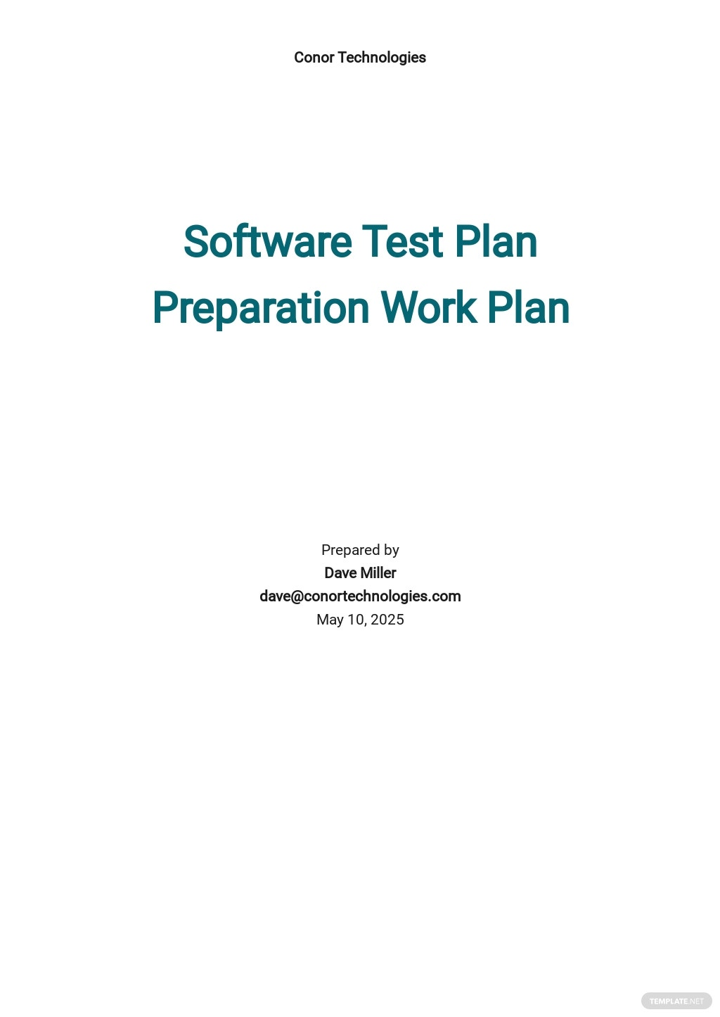 Test Plan Task Preparation Template