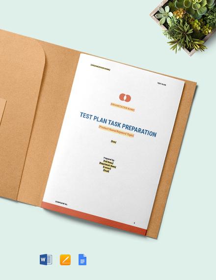 Test Plan Task Preparation Template