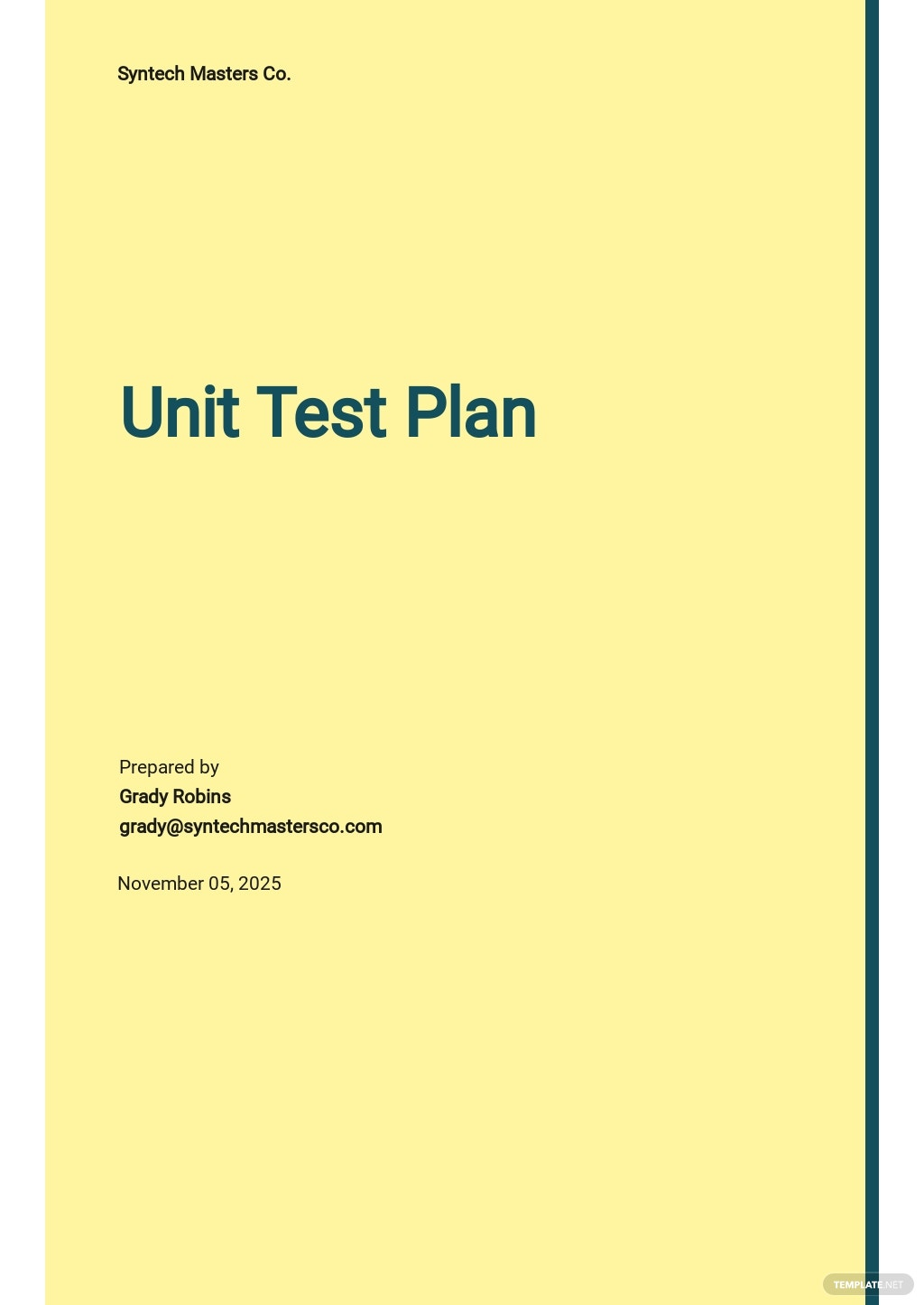 Unit Test Plan Template