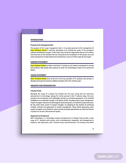 Scope Management Plan Template Download