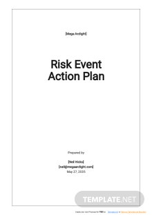 Risk Event Action Plan Template