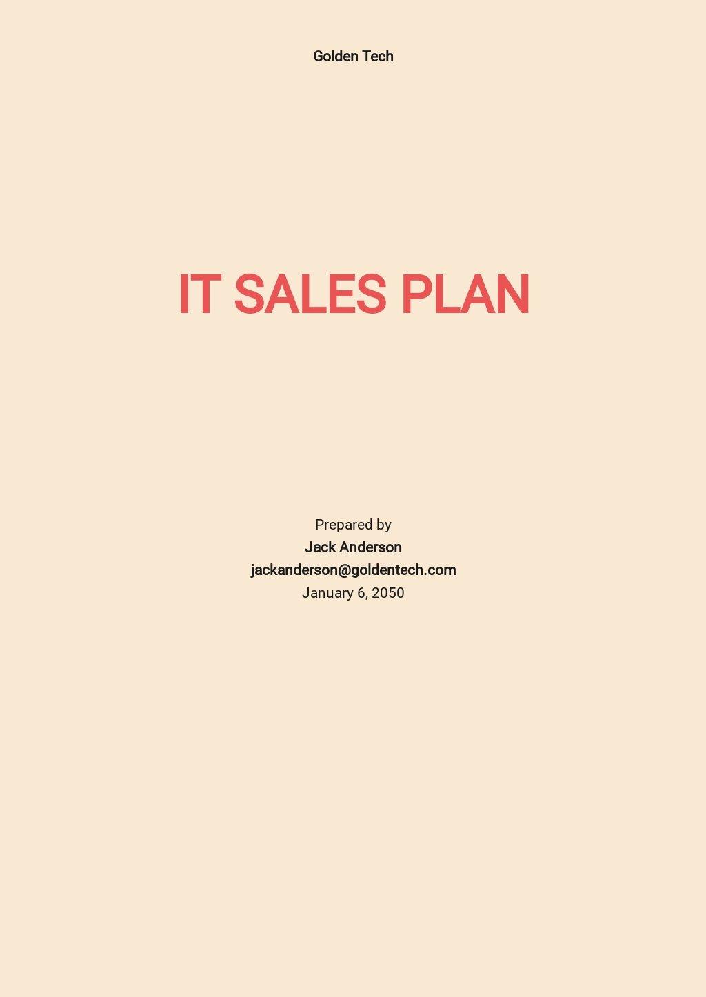 Free Sample IT Sales Plan Template.jpe