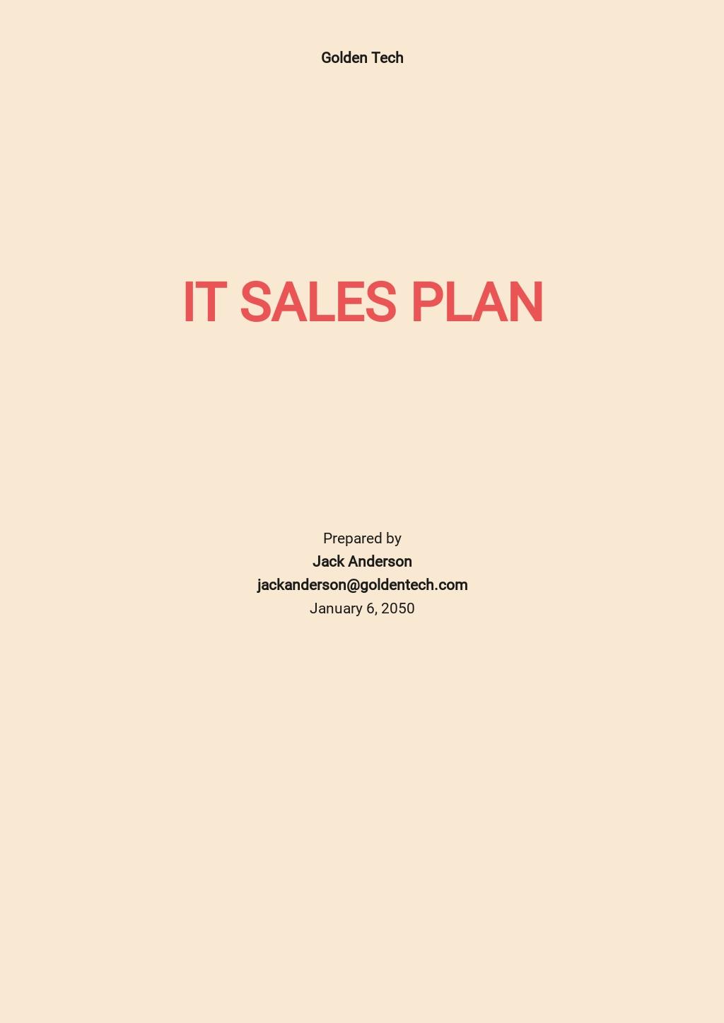 Sample IT Sales Plan Template