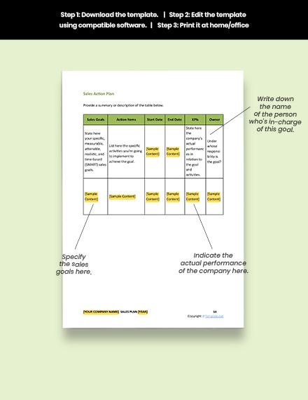 Printable Free Sample IT Sales Plan Template