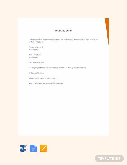 Free Personal Notarized Letter Template