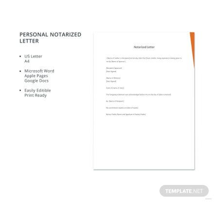 Free personal recommendation letter template in microsoft word personal notarized letter template spiritdancerdesigns Image collections