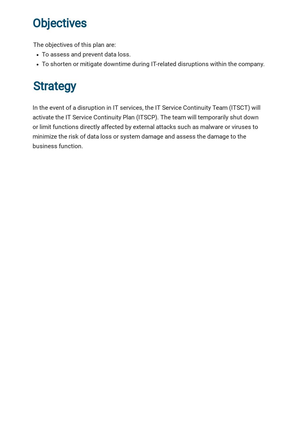 IT Service Continuity Plan Template 1.jpe