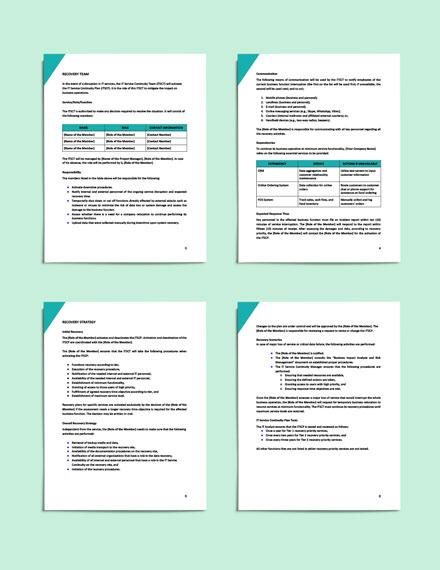 sample IT Service Continuity Plan