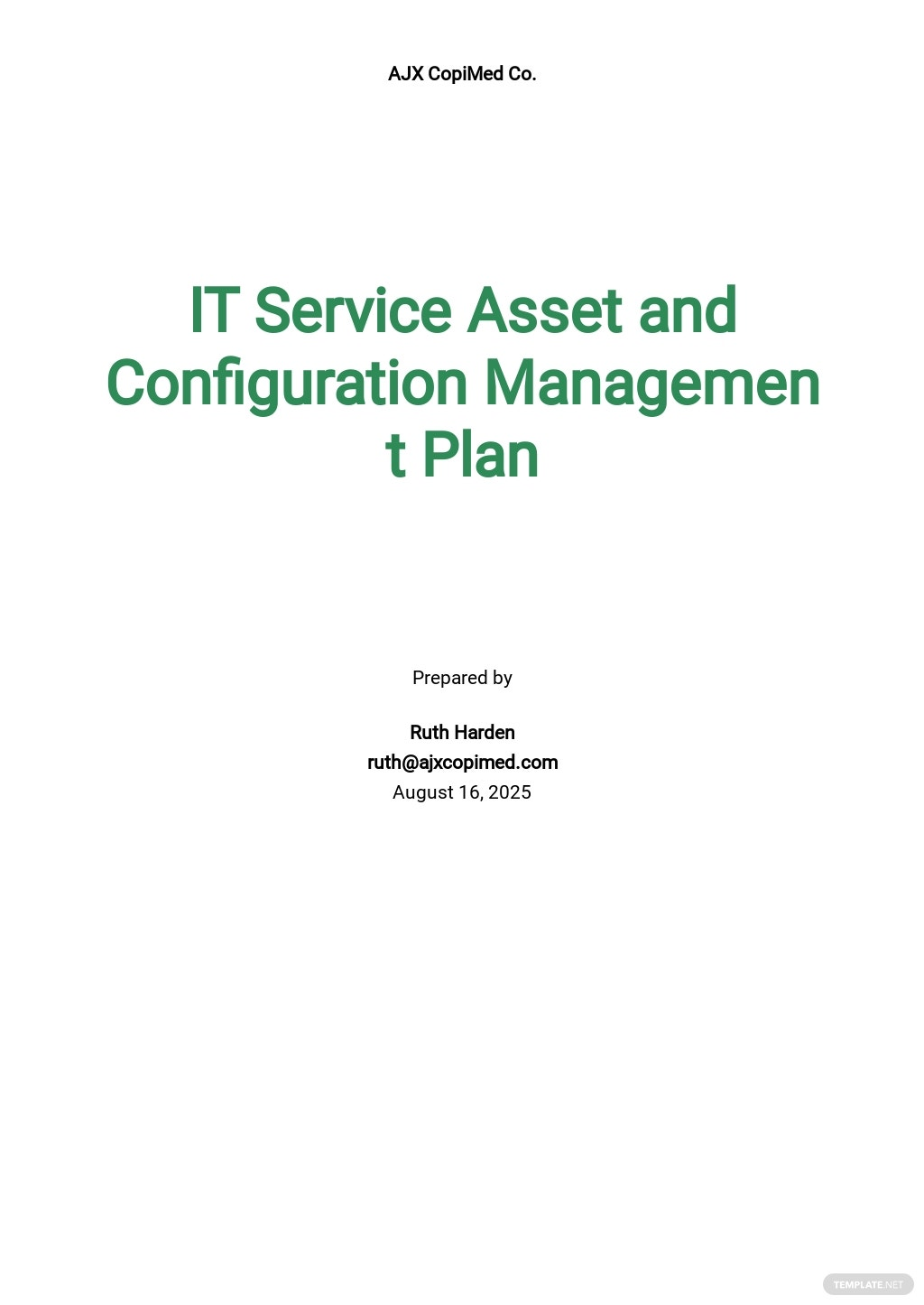 IT Service Asset and Configuration Management Plan Template [Free PDF] - Google Docs, Word