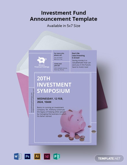 Investment Fund Announcement Template