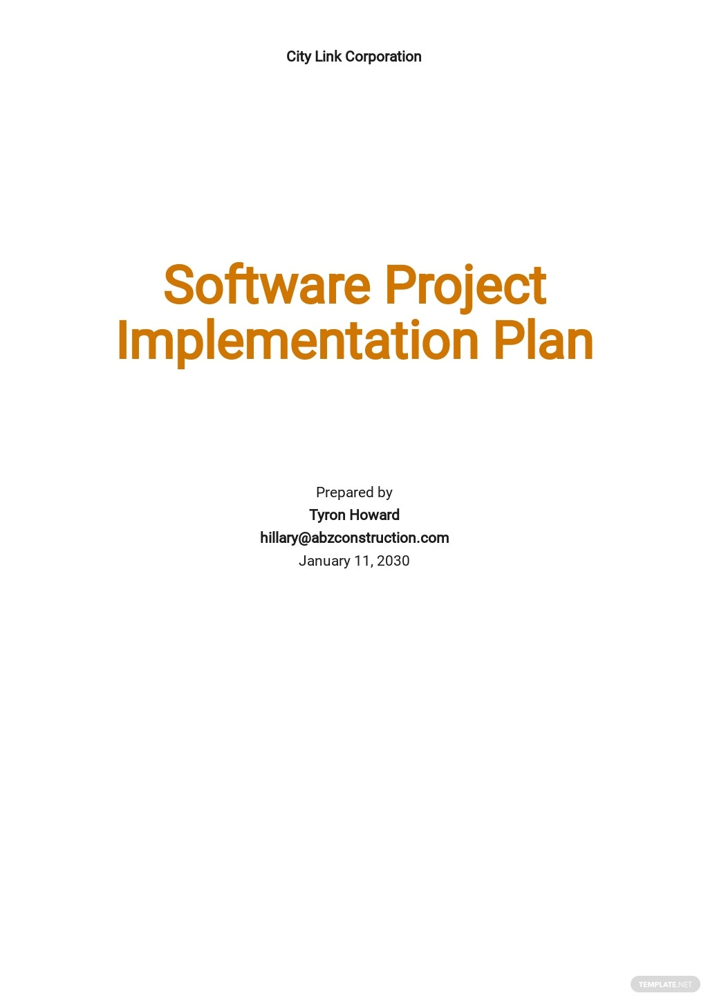 Software Project Implementation Plan Template