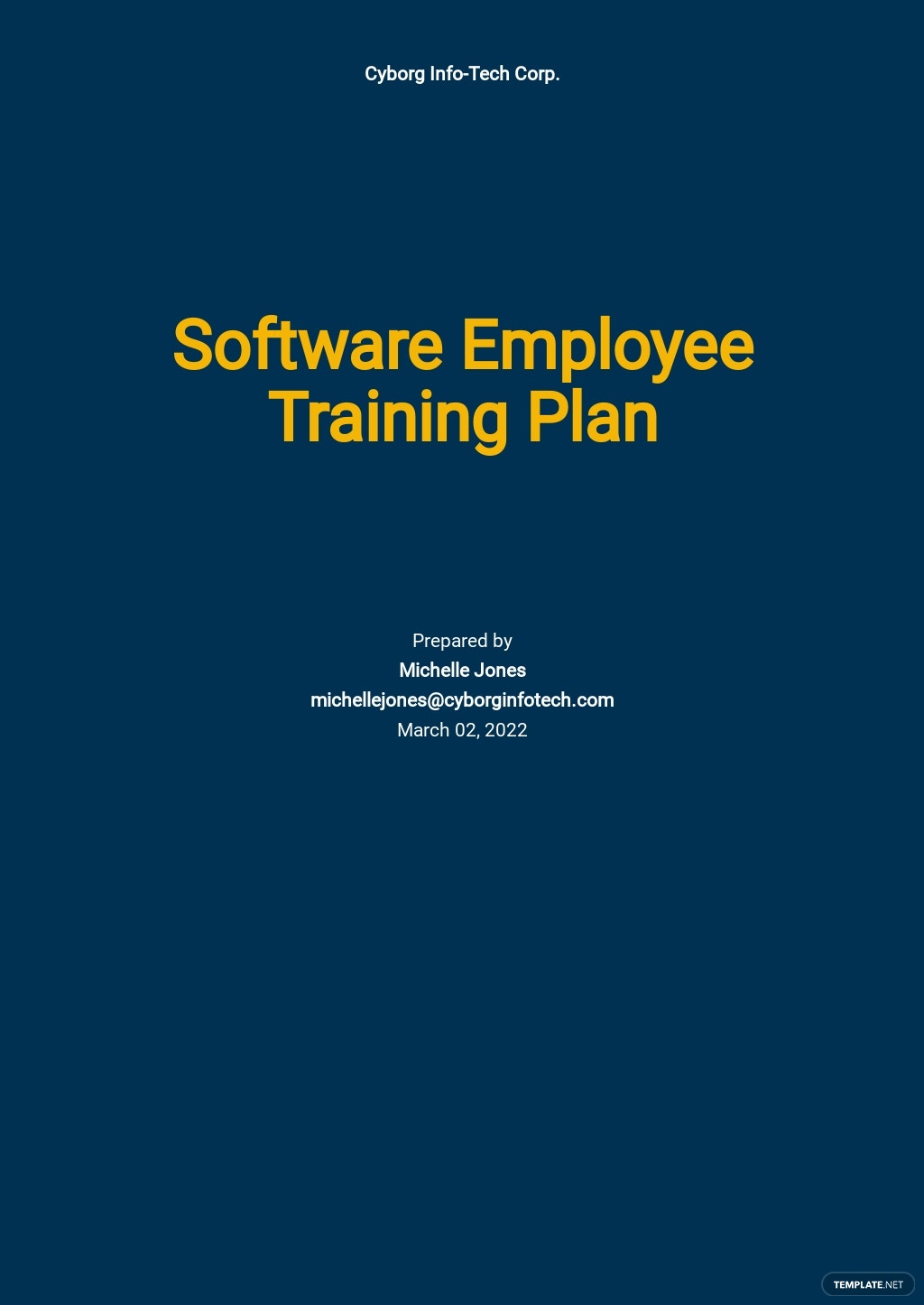 Software Employee Training Plan Template
