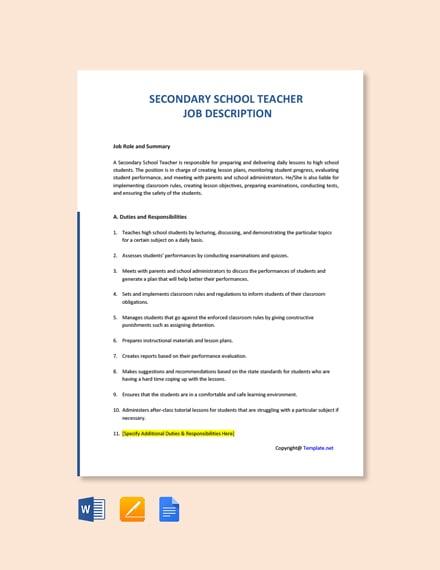 Free Secondary School Teacher Job Description Template