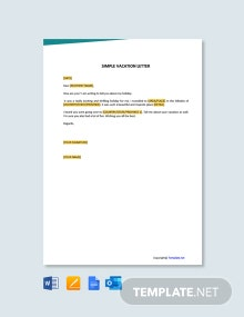 Free Simple Vacation Letter Template