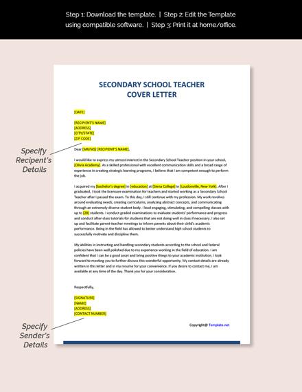 Secondary School Teacher Cover Letter Template