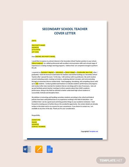 Free Secondary School Teacher Cover Letter Template