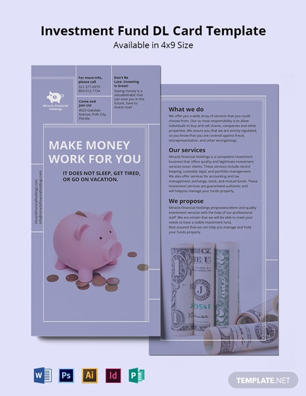Investment Fund DL Card Template