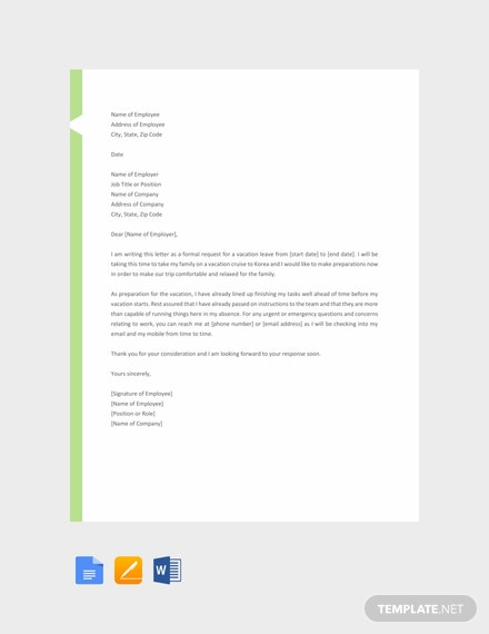 Free Vacation Leave Letter Sample