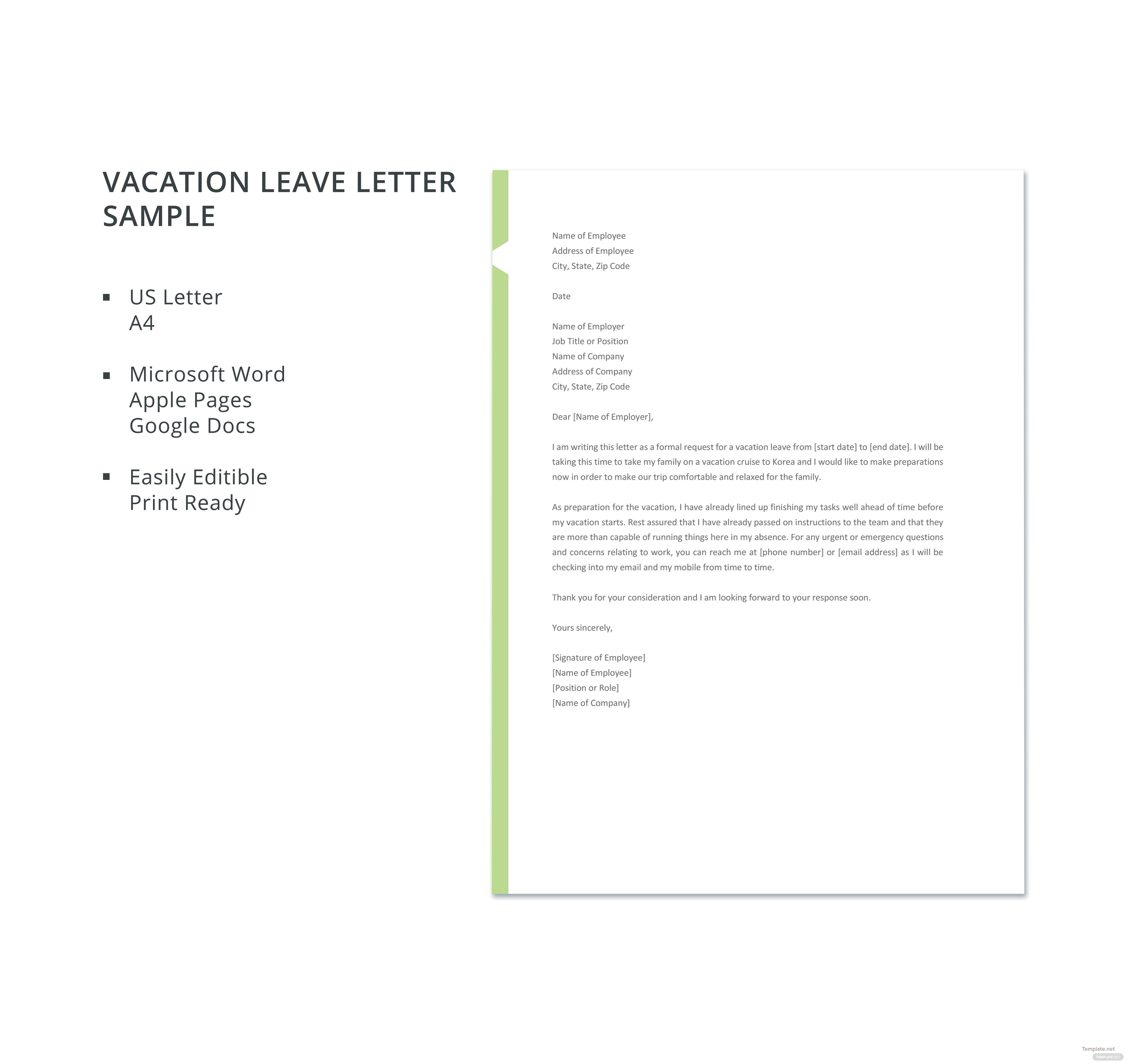 Vacation leave letter sample template in microsoft word apple pages click to see full template vacation leave letter sample altavistaventures Images