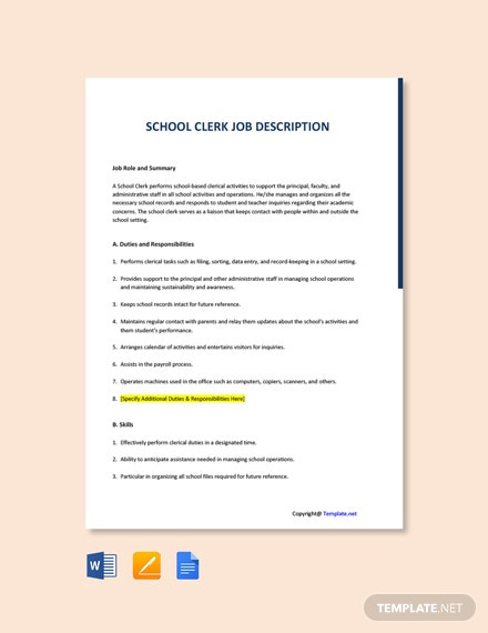 Free School Clerk Job Ad and Description Template