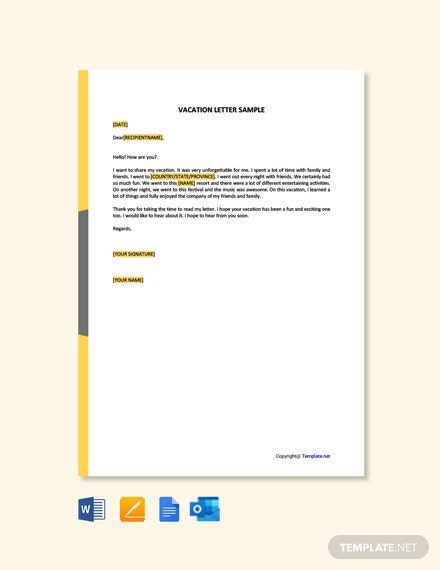 Free Vacation Letter Sample