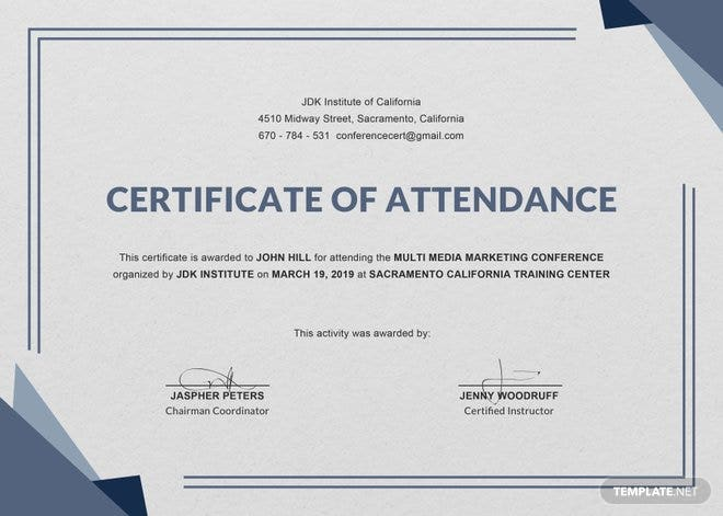 cpd certificate template - free conference attendance certificate template free