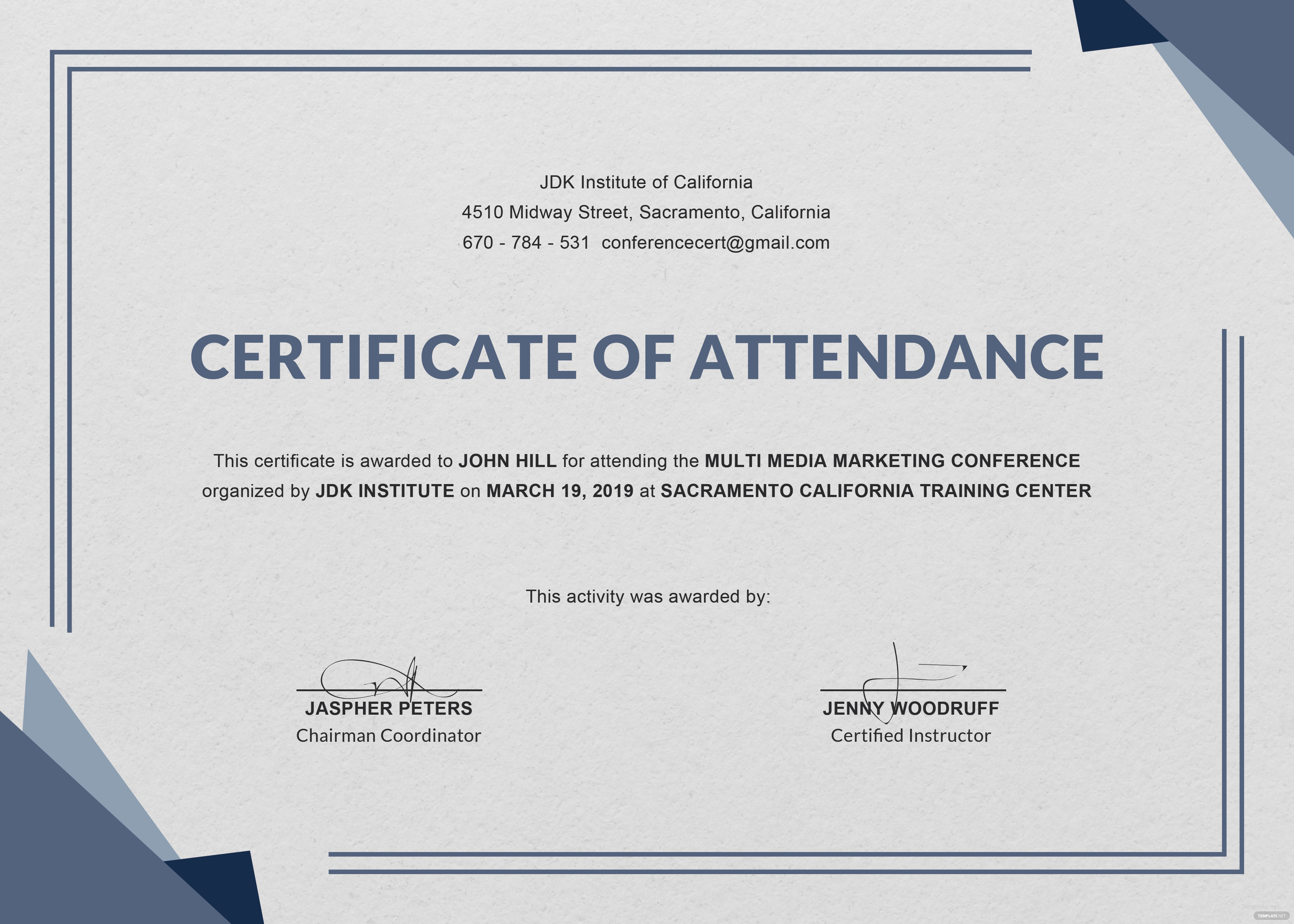 Free Conference Attendance Certificate Template In Adobe