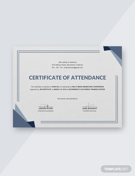 Free Conference Attendance Certificate Template Download 356