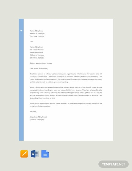 Free Vacation Letter Sample to Employer Template