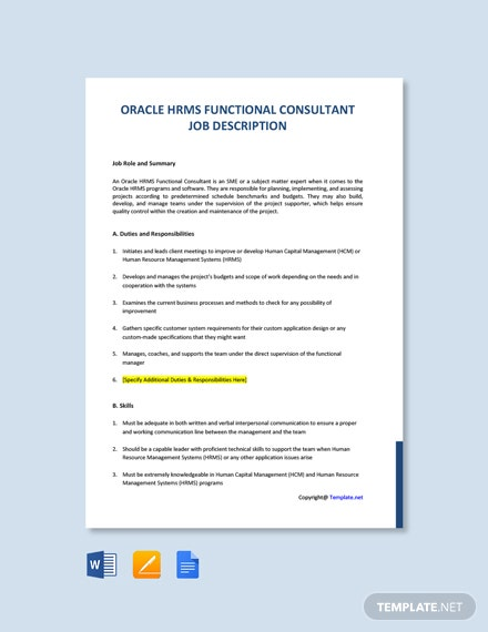 free oracle hrms functional consultant job description