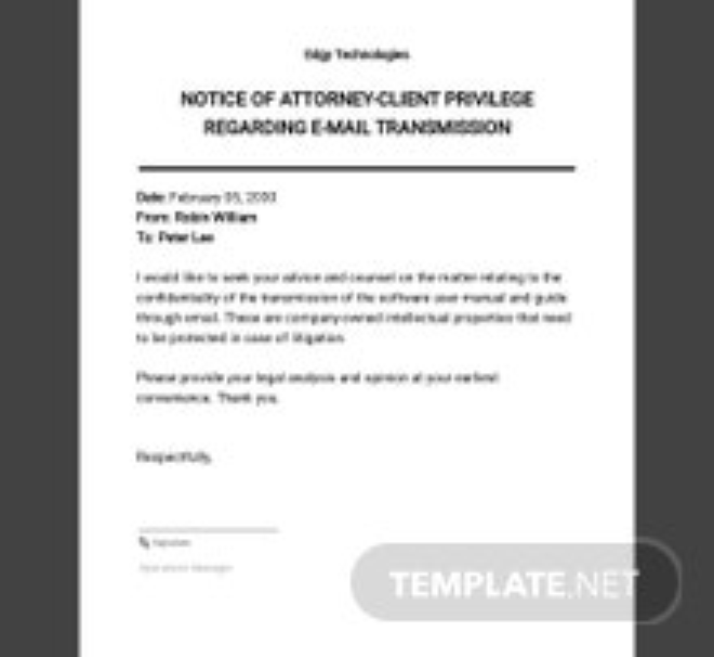 Notice of Attorney-Client Privilege Regarding E-Mail Transmission Template