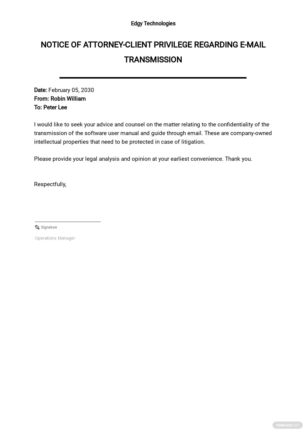 Notice of Attorney-Client Privilege Regarding E-Mail Transmission Template