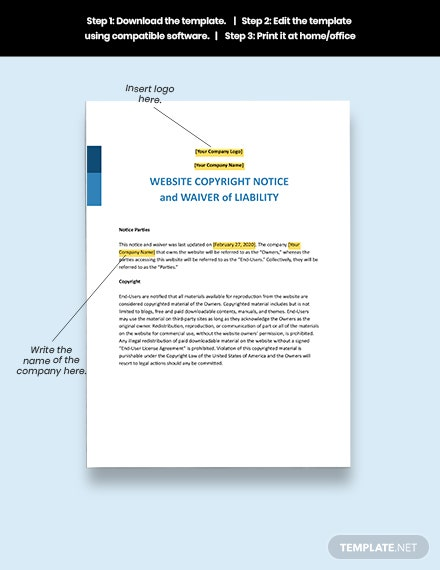 Notice of Copyrighted Material on Website and Waiver of Liability Format