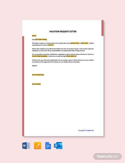 Free Vacation Request Letter Template