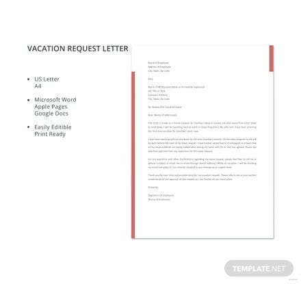 Vacation Request Letter Template