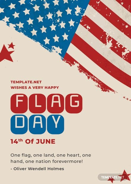 Flag Day Greeting Card Template