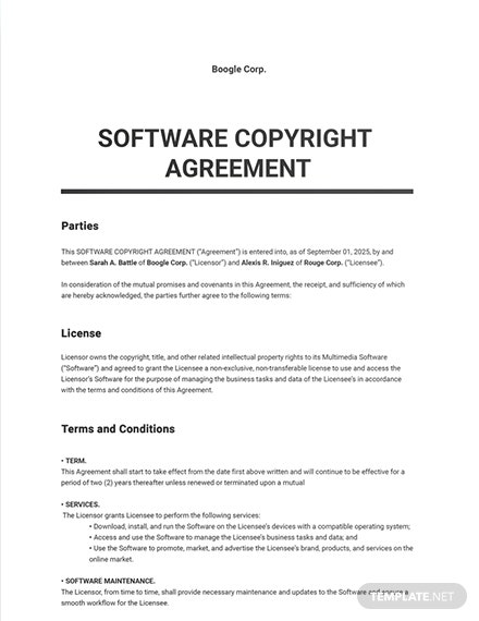 Software Copyright Agreement Template
