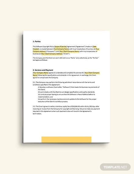 Software Copyright Policy template