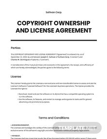 Copyright Ownership and License Agreement Template