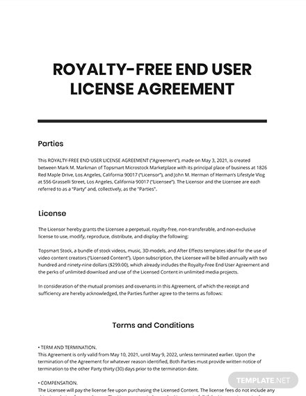 Royalty-End User License Agreement Template
