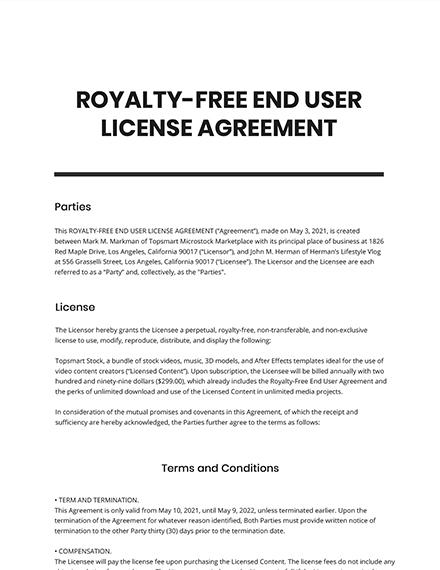 RoyaltyFree End User License Agreement Template