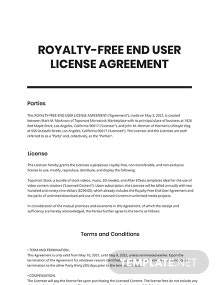 Royalty-Free End User License Agreement Template