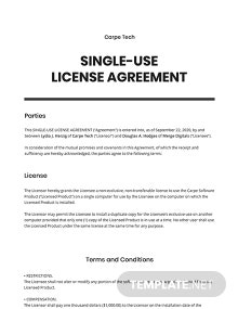 Single Use License Agreement Template