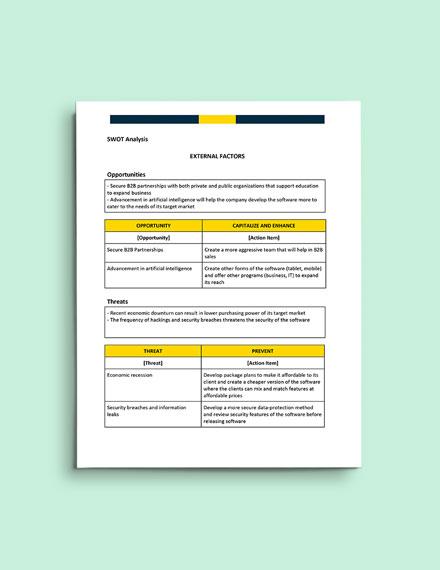 Technology SWOT Analysis format