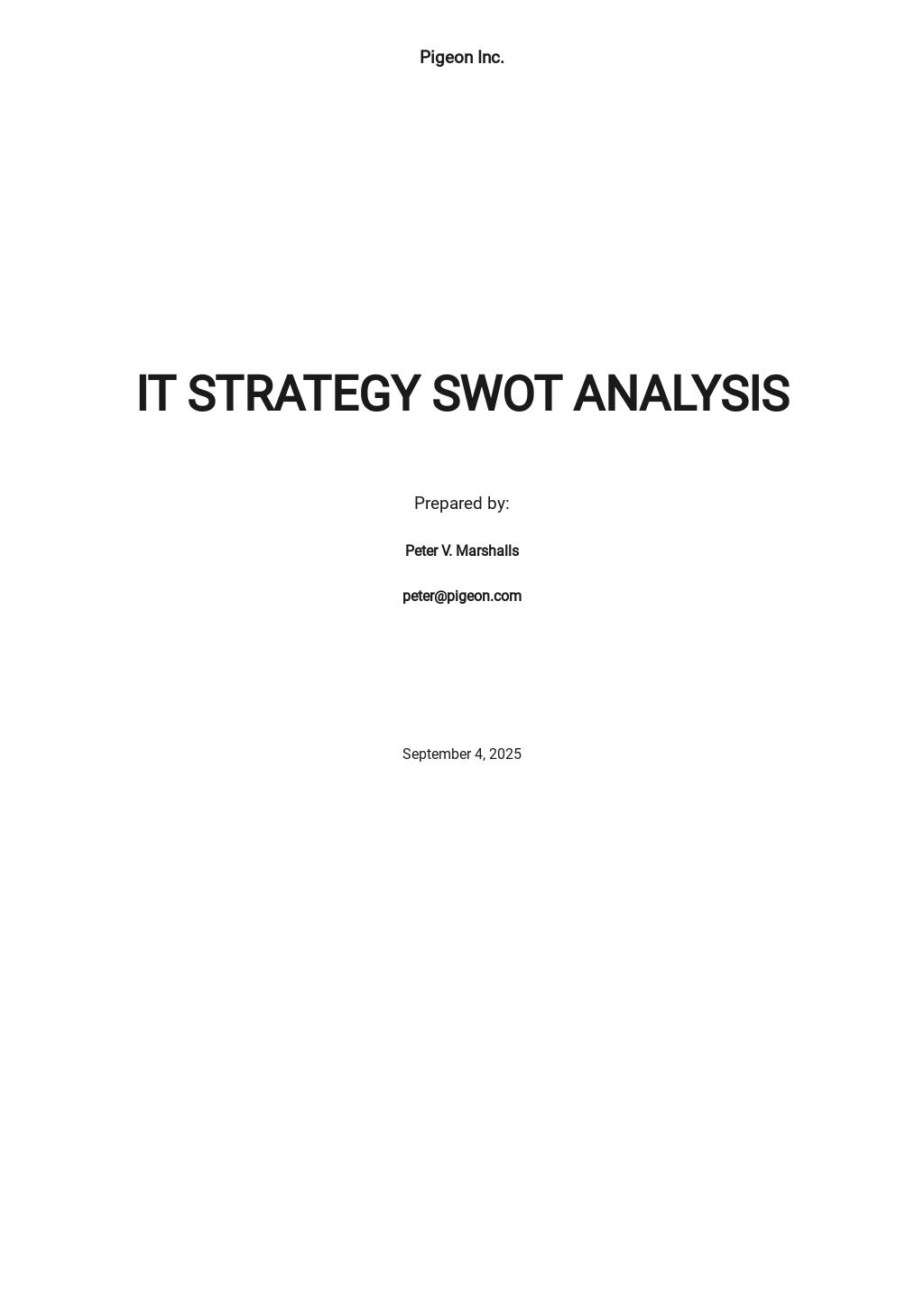 IT Strategy SWOT Analysis Template