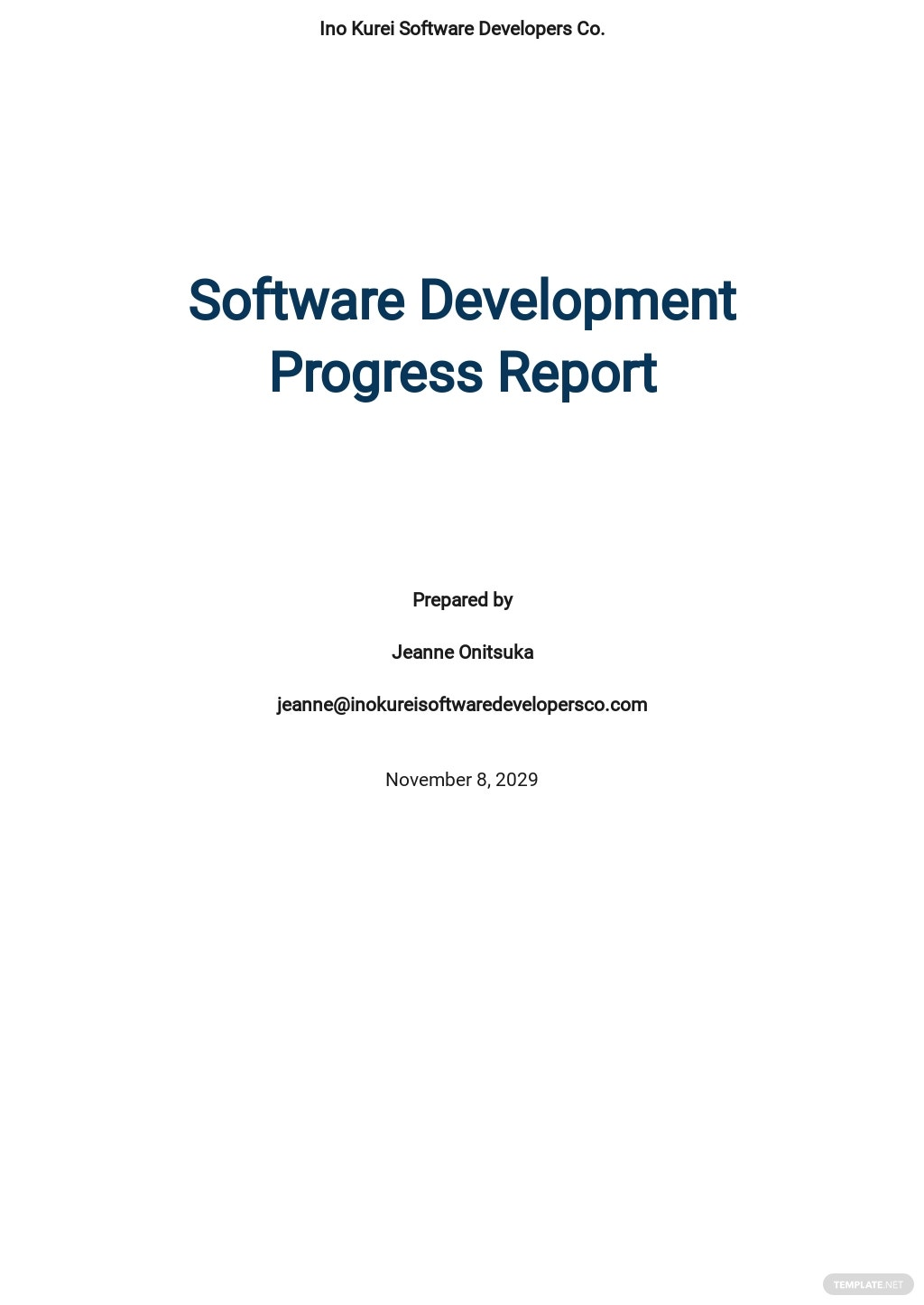 Software Development Progress Report Template