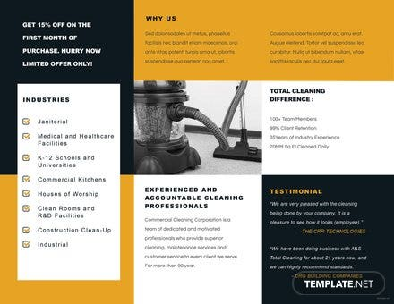 Commercial Cleaning Brochure Template In Adobe Photoshop - Commercial cleaning brochure templates