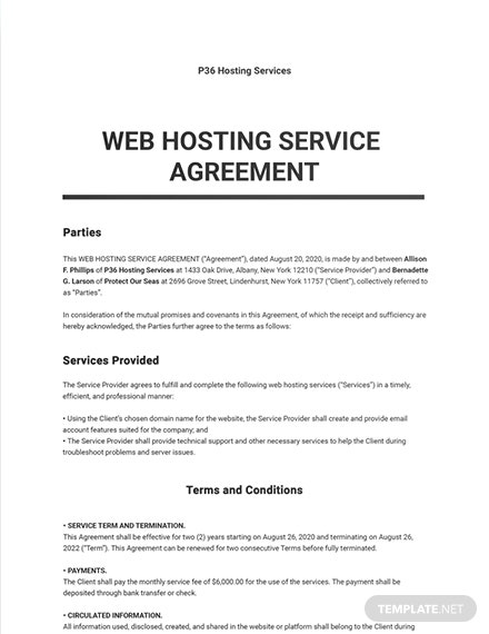 Web Hosting Service Agreement Template